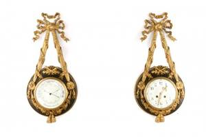 Louis XV Gilt Bronze Cartel Clock and Barometer