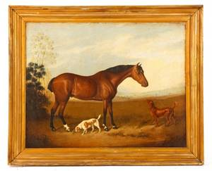 British School Horse and Hunting Dogs Oil