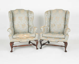 Pair of Kittinger Queen Anne style wing chairs