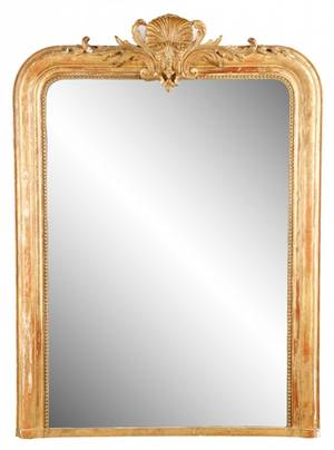 French Louis Phillip Giltwood Gesso Carved Mirror