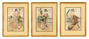 Scarce Edo Pd Ukiyoe Triptych Kikugawa Eizan