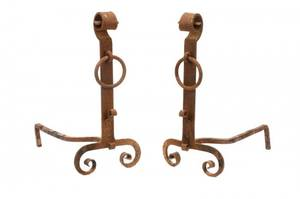 Pair Arts and Crafts Wrought Iron Andirons