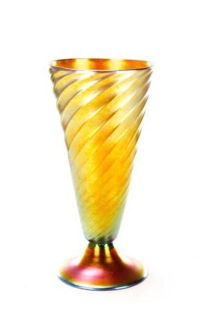 Steuben Gold Aurene Spiral Ribbed Vase 6034
