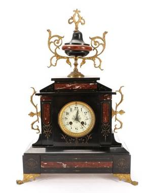 Late 19th C French Marble and Gilt Mantel Clock
