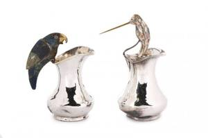 Two Inlaid Silver Plate Los Castillo Pitchers