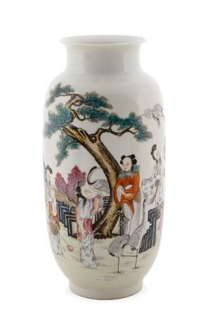 Chinese Porcelain Vase with Courtly Women  Cranes