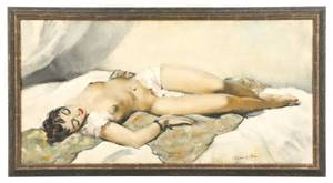 Cesar Vilot Reclining Female Nude Oil