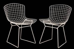 Pair of Bertoia Style Enameled Wire Side Chairs