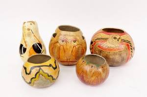 Group of Five Hand Painted Gourd Bowls