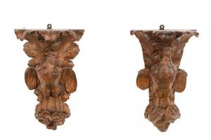 Pair 19th C Black Forest Carved Wood Wall Brackets