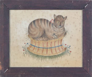 Oil on velvet theorem of a cat on a basket