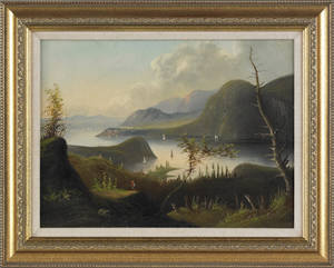 Hudson river oil on canvas landscape ca 1860