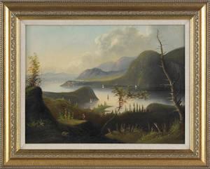 Hudson river oil on canvas landscape ca 1860