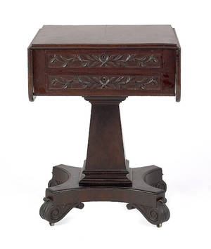 American classical mahogany work table attributed to Isaac Vose Boston ca 1830