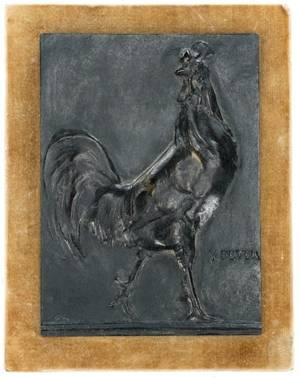Victor Peter French Bronze Relief Plaque Rooster