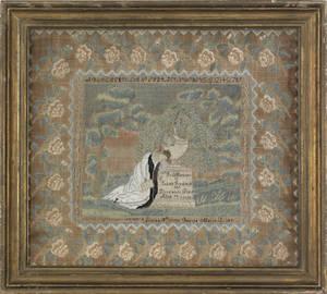 Boston Massachusetts silk on linen needlework memorial dated