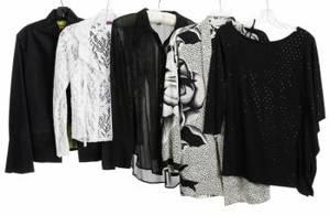JANE FONDA BLACK AND WHITE TOPS