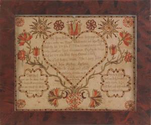 Pennsylvania watercolor and ink on paper fraktur for Georg Liadermann Tulpehocken Township Berks County 1773