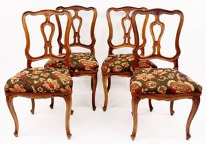 Set of 4 Continental Fruitwood Side Chairs