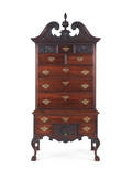 Chippendale style carved walnut highboy