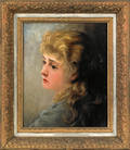 Victorian oil on panel portrait of a woman