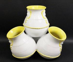 Yellow  White Glazed Terracotta Garden Planter