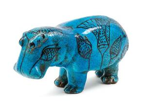 An Italian TurquoiseGlazed Pottery Model of a Hippopotamus