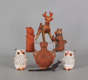 Seven contemporary Native American pottery effigies