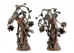 Pair of Large Bronze Figural Lamps Depicting Eros