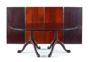 Kittinger mahogany twopedestal dining table with four 24 leaves