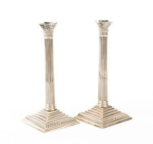 Pair of English Paktong candlesticks late 18th c
