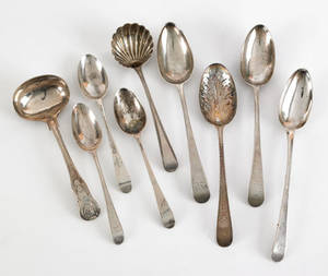 Nine Georgian silver serving spoons and ladles late 18th c