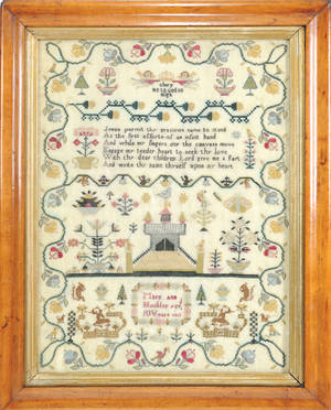 Silk on linen sampler wrought by Mary Ann Hockley