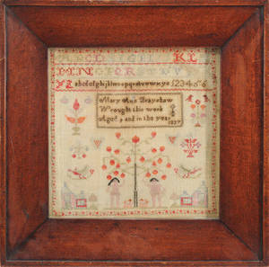 Silk on linen sampler wrought by Mary Ann Bratshaw 1830