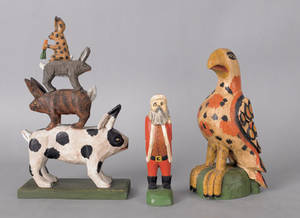 Three contemporary Daniel and Barbara Strawser carvings