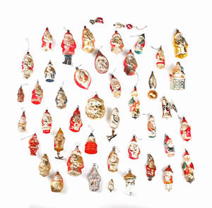 Group of Santa Claus glass Christmas ornaments