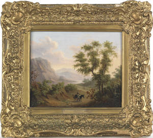 Continental oil on canvas country landscape mid 19th c