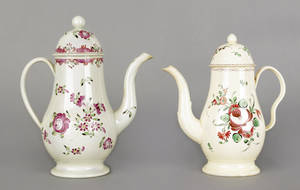 English pearlware coffee pot ca 1800