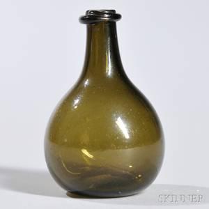 Miniature Blown Green Glass Chestnut Bottle
