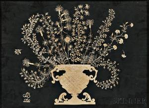 Early Cutwork Picture of an Urn of Flowers