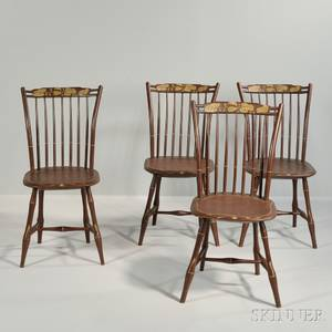Set of Four Brownpainted Windsor Side Chairs