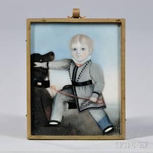 American School 19th Century Miniature Portrait of a Boy and Dog