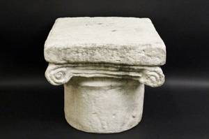 Cement Pedestal with Scrolled Capital Detail