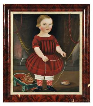 William Matthew Prior Massachusetts Maine 18061873 Portrait of a Boy in a Red Dress with His Toy Wagon