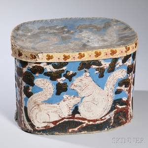 Wallpaper Hat Box with Squirrel Pattern Decoration