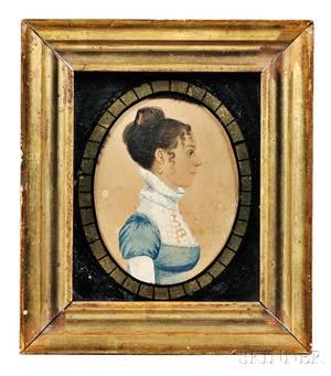 Rufus Porter ConnecticutMassachusetts 17921884 Profile Portrait Miniature of a Woman in a Blue Dress