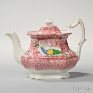 Red Spatterware Teapot with Peafowl Decoration