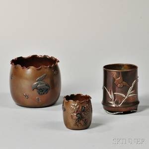 Three American Copper and Mixed Metal Vases