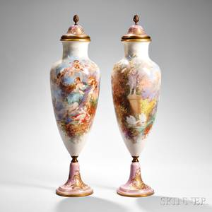 Pair of Sevresstyle Porcelain Covered Urns