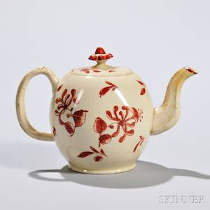 Iron Red Enameled Creamware Teapot and Cover